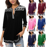 Womens V Neck Short Sleeve Tunic Tops Loose Blouse Plus Size Casual T-Shirt Tops