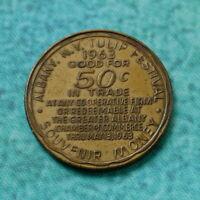 1963 TULIP FESTIVAL Albany NY Souvenir Money Trade Token Coin 50 Cents Assiduity