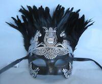 Mens Gladiator/Egyptian/Roman/Venetian Masquerade Silver & Black Party Mask NEW