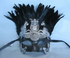 Mens Gladiator/Egyptian/Roman/Venetian Masquerade Silver & Black Party Mask NEW
