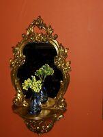 Unique Gold Gild Ornate Syroco Mirror Shelf Regency Baroque French Old Vintage