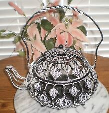 ~~ONE (1)  METAL ORNATE AGED LOOK TEAPOT HOME DECOR, FAUX FLORAL, CANDLES ETC.
