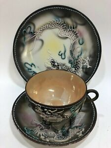 Antique Japanese Dragonware Moriage Side Plate Saucer & Gold Lusterware Tea Cup
