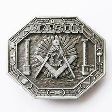 NEW SILVER MASON 3-D MASONIC FREEMASON BELT BUCKLE