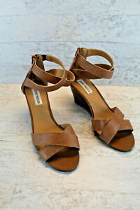 Steve Madden Womens Bane Wedge Sandals, Brown Leather with Zip Closure Size 8
