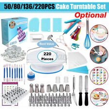 220PCS Cake Decorating Tools Set Nozzles Baking Supplies Turntable Stand Kit