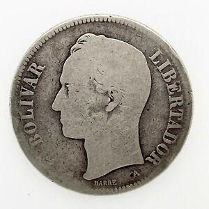 1876 A VENEZUELA 5 BOLIVARES (25 GRAM) .900 Silver  Coin Y#16  Scares ! #2