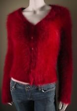 Fuzzy 73% Angora Sweater J.CREW  Burgundy Cardigan