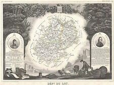 GEOGRAPHY MAP ILLUSTRATED ANTIQUE LEVASSEUR DU LOT POSTER ART PRINT BB4373A