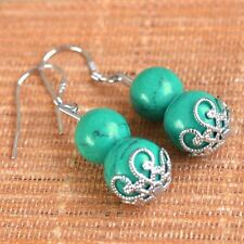 925 Sterling Silver GREEN Natural Stone Drop Dangle Earrings Jewelry Gift UK