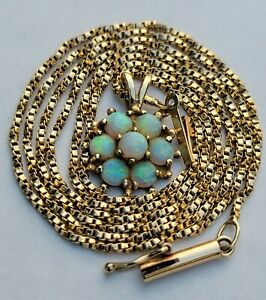 """Vintage 14K Solid Yellow Gold Opal Flower Pendant Necklace 20"""" Chain"""