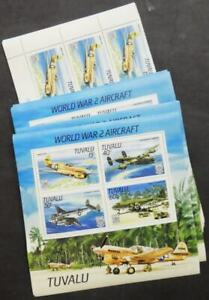 EDW1949SELL : TUVALU 1985 Scott #307-10a WWII Aircraft 20 Complete sets & 35 S/S