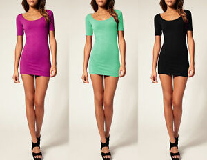 SEXY LOOK Sommer Frauen Mini-Kleid Kurzarm Shirt Bodycon Stretch Short S M L 314
