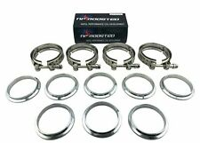 "4 Pcs Universal 3"" Inch Stainless V-BAND Turbo Exhaust Downpipe Clamp Flange Kit"