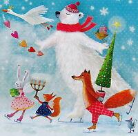 Mila Marquis*Postkarte*14x14*Tiere l.Schlittschuhe*Grußkarte*Glitzer*Weihnachten