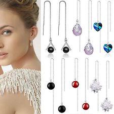Ladies Jewelry 925 Sterling Silver Agate Crystal Party Wedding Threader Earrings