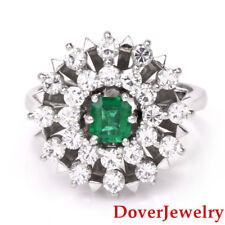 Vintage Diamond Emerald 18K White Gold Dome Cluster Ring 8.4 Grams NR