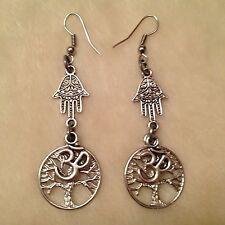 Silver Ohm Tree of Life Hamsa Hand Charm Earrings