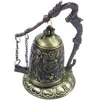 Brass Bell Carved Dragon Buddhist Buddha's Clock Bronze Good Luck Bell X1W2