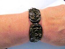 Stunning Antique Black Bakelite Rose Carved Clamper Hinged Bangle Cuff Bracelet