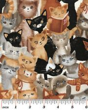 Fat Quarter Kitty Galore Cat Kitten Collage Quilting Fabric - Benartex