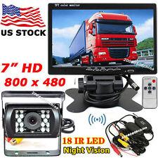 "Wireless IR Backup Camera + 7"" HD LCD Monitor Car Rear View Kit for Bus Truck"