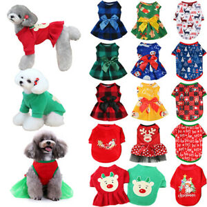 Christmas Pet Clothes Small Dog Cat Sweater T Shirt Fancy Skirt Dress Costume