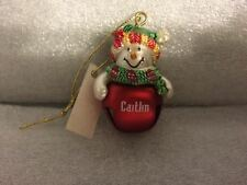 Ganz Jingle Bell Snowman Ornament Personalized CAITLIN Great Stocking Stuffer