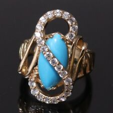 Vintage Blue Turquoise Diamond Ring Rose Gold Plate Women Jewelry Sizable