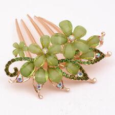 NEW Fashion Flower Crystal Rhinestone bride Hair Comb Clip  Green
