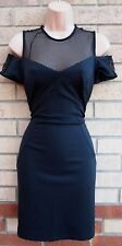 LOST SOCIETY BLACK FISH NET CAGED BODYCON CUT OUT SHOULDER PARTY XMAS DRESS 12 M