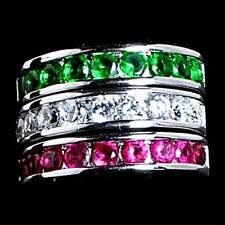 3 Ring Set_Green_Clear_Red Cz Wedding Band_Sz-6_925 Sterling Silver