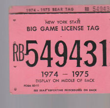 New York State Big Game License Tag 1974-1975