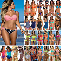 Damen Bandeau Bikini Sets Push Up Padded Badeanzug Monokini Tankini Bademode Neu