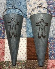 Primitive Country Galvanized Ginger Wall Cones * Set of 2