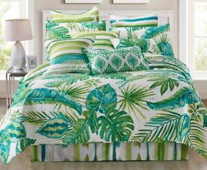 TROPICAL PALMS 3pc Queen QUILT SET : OCEAN BEACH HOUSE GREEN LEAVES HAWAIIAN