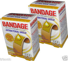 """60pcs Anti-Bacterial Shield Adhesive Sterile Bandages First Aid Heals 3"""" x 3/4"""""""