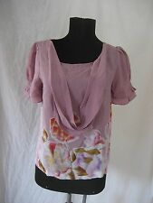 Odille Anthropologie 100% Silk Floral Pretty Feminine Blouse Top sz 2