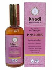 KHADI AYURVEDIC FACE & BODY OIL 100ML - PINK LOTUS - BALANCES & SOOTHES - VEGAN