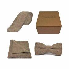 Luxe Herringbone Marron Tweed bow tie, cravate & mouchoir de poche | Boxed