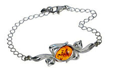 925 Sterling Silver Bracelet Natural Cognac Baltic Amber Jewellery Jewelry
