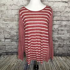 Women's VINCE Red White Striped Long Sleeve Linen Crew Neck Top Size Large