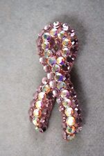 BELLINI BY FORMART PINK RIBBON  RHINESTONE PIN BROOCH