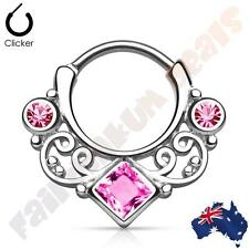 316L Surgical Steel Swirl Lace with Pink CZ Gems Round Septum Ring Clicker