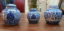 3 small Chinese Antique Zun Flower Ginger Jar with Lid Blue White Not Marked