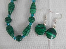 "Green malachite/ small crystals  necklace 16"" &  silver pl. earrings"