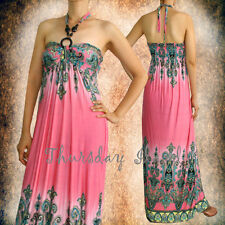 Tropical Retro Style Beach Pink Wooden strap Halter maxi long casual long dress