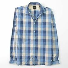Scotch and Soda Blue Plaid Shirt Button Front Distressed Fade Mens XL