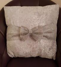 Crushed Velvet Diamanté Bow Cushion Covers