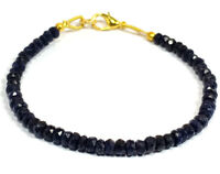 "3-4MM Dyed Blue Jade Rondelle Faceted Gemstone Beads 7"" Bracelet Jewellery"